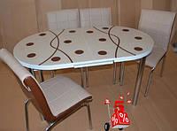 Обеденная группа комплект кухонной мебели овальный стол и стулья, Capov каленное стекло с оригинальным декором