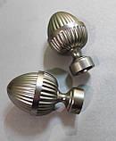 Карниз для штор металевий ОДЕОН однорядний 25мм РЕТРО 2.0 м Колір Сатин нікель, фото 2