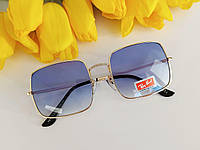 Жіночі сонцезахисні окуляри Ray Ban прямокутної форми, блакитні в золотій оправі, код - sg0003, фото 1