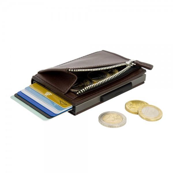 """Чоловічий шкіряний гаманець на блискавки компактний і багатофункціональний """"OGON Cascade""""."""