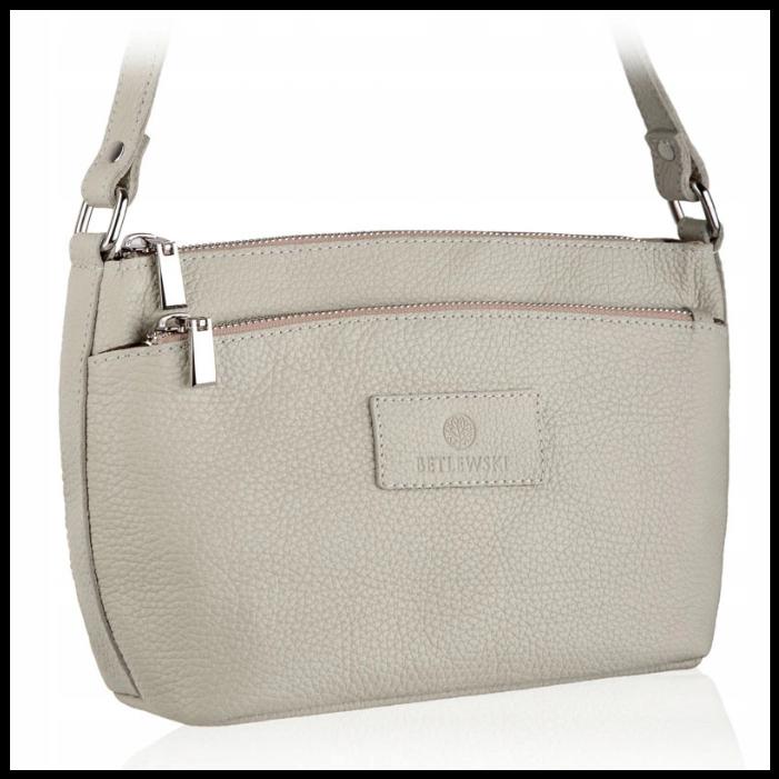 Шкіряна жіноча сумка бренд BETLEWSKI Польша світло-сірий