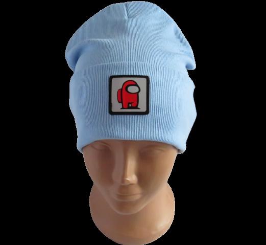 Молодежная весенняя хлопковая шапка Fero со светоотражающим логотипом Among Us (Амонг ас), голубая