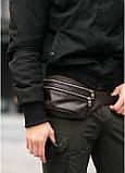 Сумка на пояс с коричневой натуральной кожи Tirso M с кожаным ремнем, фото 3