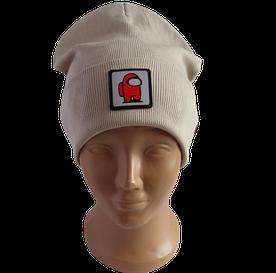 Молодежная весенняя хлопковая шапка Fero со светоотражающим логотипом Among Us (Амонг ас), бежевая