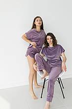 Пижама женская тройка из плюшевого велюра шорты, футболка и штаны