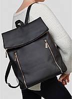 Стильный женский черный рюкзак-сумка городской, повседневный из эко-кожи, новинка 2021