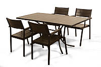 """Комплект мебели для сада """"Бристоль"""" стол (140*80) + 4 стула Венге, фото 1"""