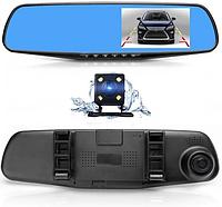 Автомобильный видеорегистратор Vehicle BlackBOX DVR Full HD 1080 зеркало с двумя камерами