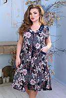 Летний женский халат, большой 62 размер. Платье 100 % коттон. Турция. 7 XL