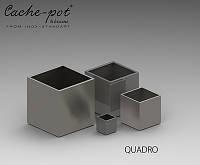 Кашпо из нержавеющей стали Quadro, поверхность шлифованная