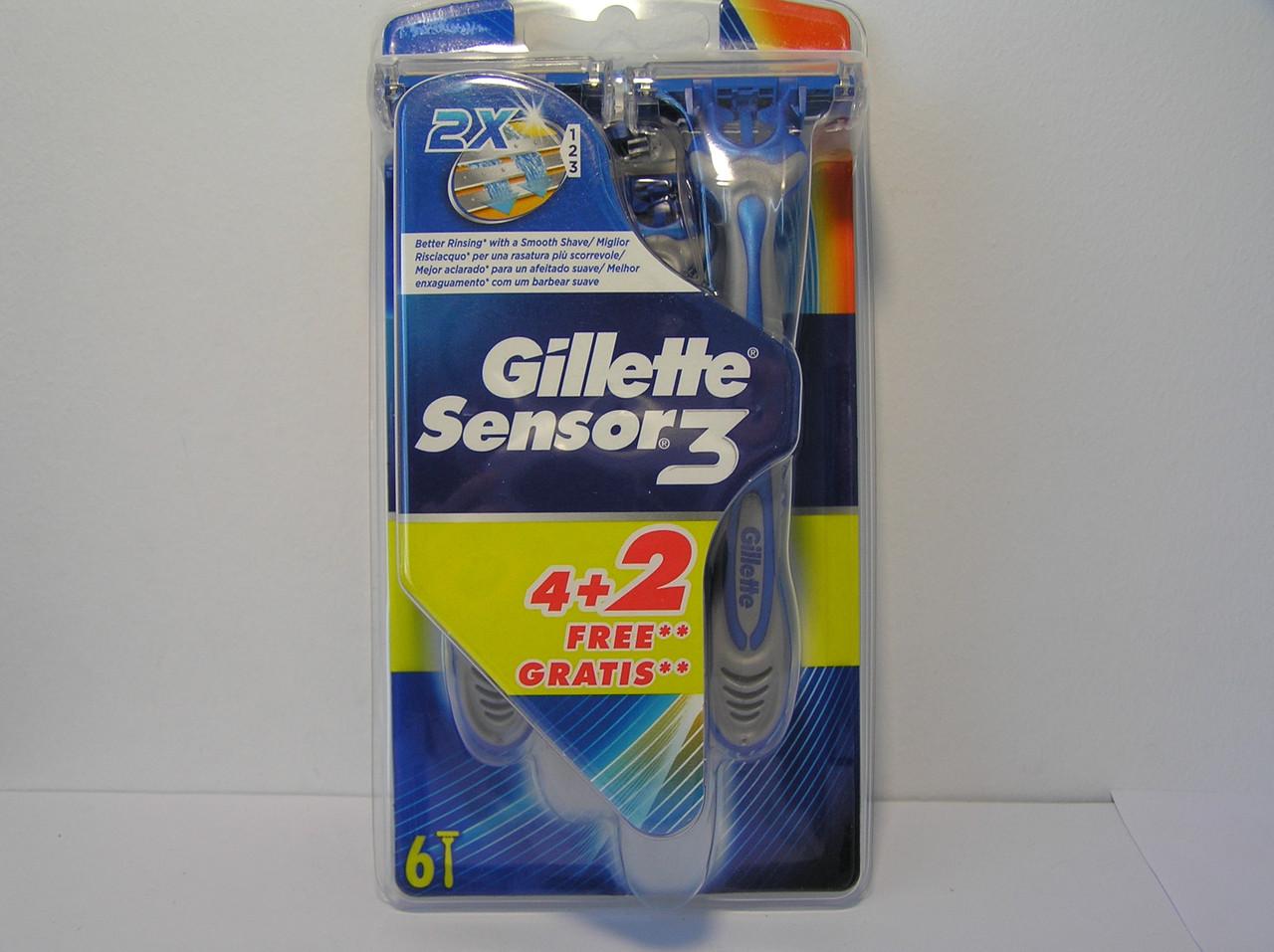 Станок мужской одноразовый Gillette Sensor 3 6 шт. (Жиллетт  Сенсор 3)