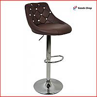 Барный стул высокий для барной стойки Кожаное барное кресло стильное со спинкой Bonro B-801С коричневый
