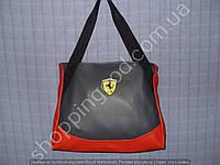 58da86741ac3 Женская сумка Ferrari 013597 серая с красным дном спортивная городская  гладкий кожзам копия