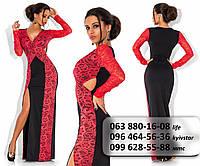 Шикарное женское длинное платье из французского трикотажа со вставками гипюра по бокам черное