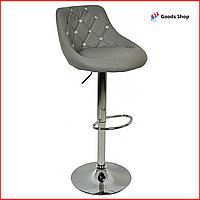 Барный стул высокий для барной стойки Кожаное барное кресло стильное со спинкой Bonro B-801С серый