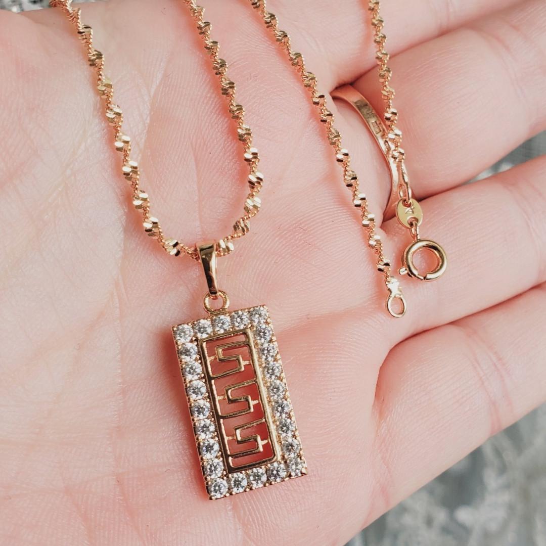 Кулон з ланцюжком 2мм 50см xuping медичне золото позолота 18К  5319
