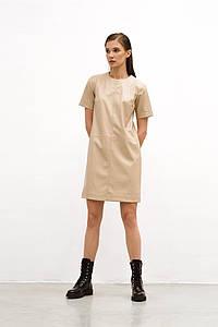 "Прямое кожаное мини-платье ""ADELAIDE"" с коротким рукавом"