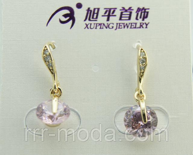 Стильные модели новых серёжек Xuping с нежными кристаллами в стразах. Позолоченные женские серьги оптом и в розницу.