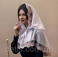 Палантин женский «Світлинка» Молочный и Белый с пудровым кружевом
