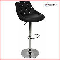 Барный стул высокий для барной стойки Кожаное барное кресло стильное со спинкой Bonro B-801С черный