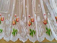 Гардина белая короткая с цветочным узором высотой 90 см., фото 1