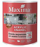 Эмаль акриловая для дерева и металла Maxima белая глянцевая 2.3л