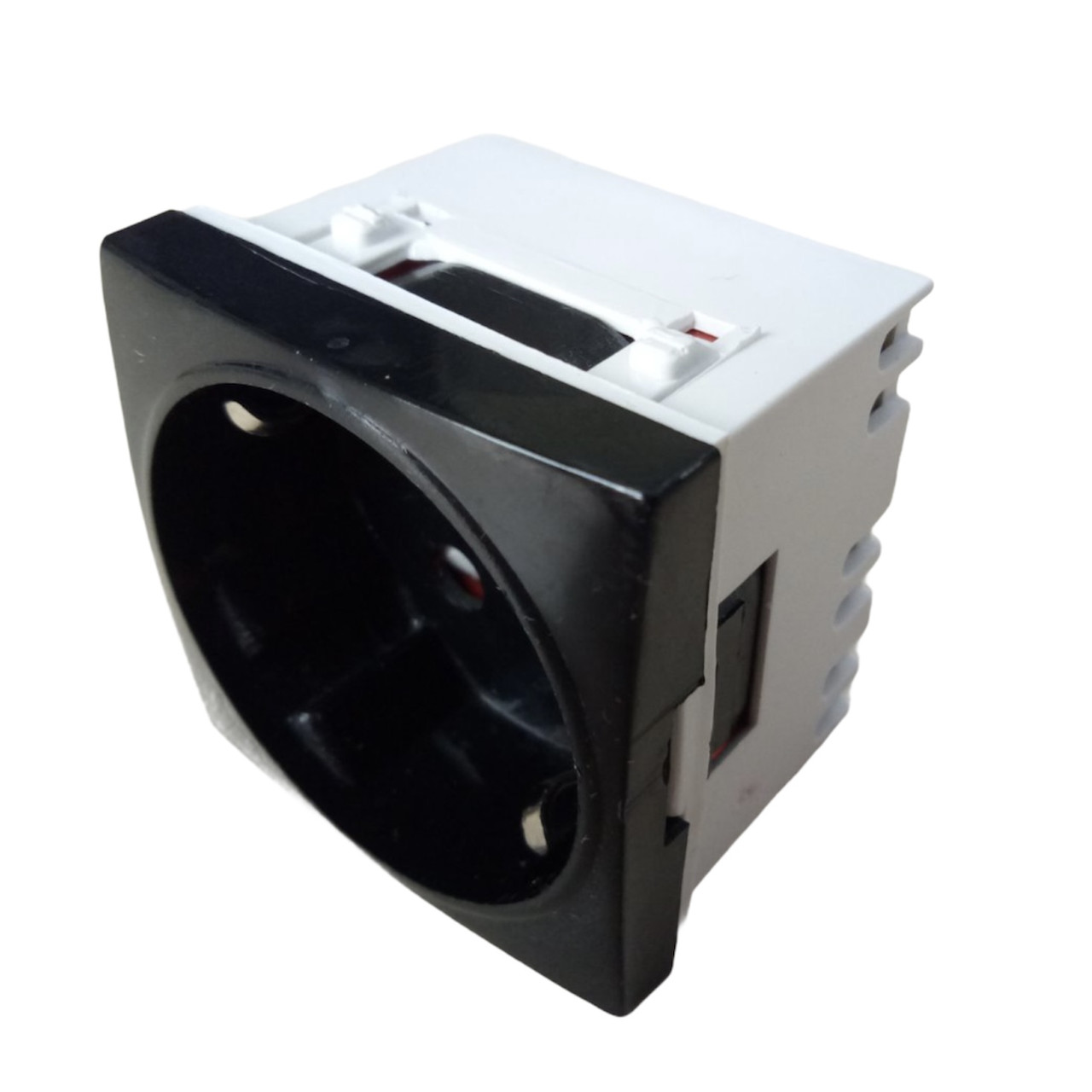 Модульная розетка  45х45 для установки в люк, кабель-канал, настенный бокс, черная, с заземлением и защитой