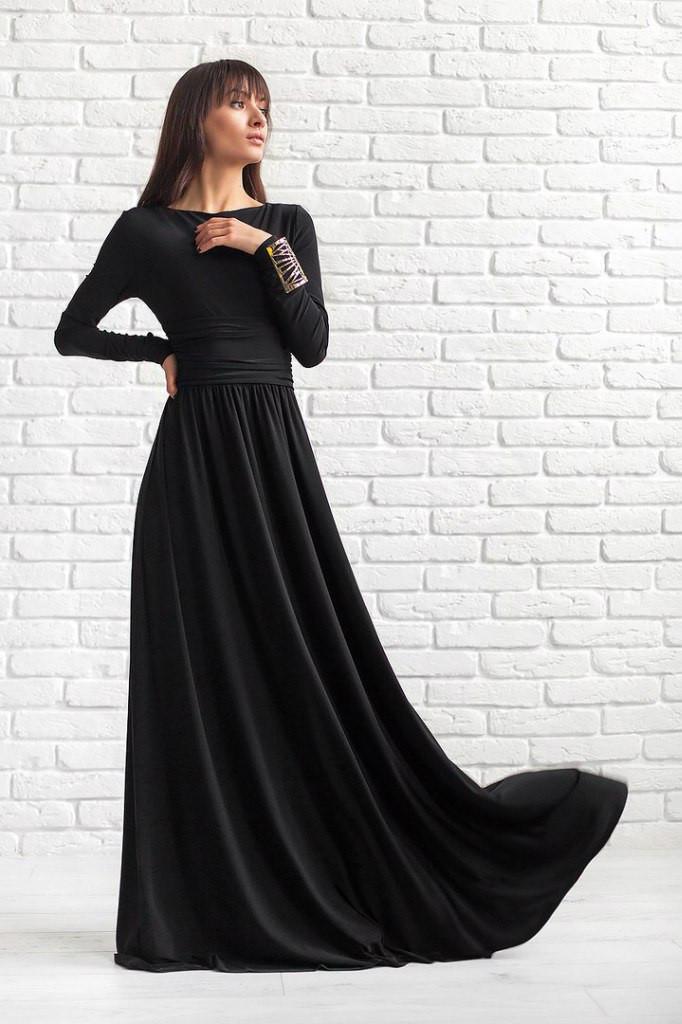 Вечернее черное длинное платье купить