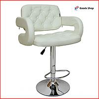 Барный стул высокий для барной стойки Кожаное барное кресло со спинкой с подлокотниками Bonro B-823A белый