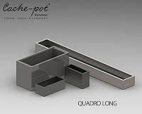 Кашпо из нержавеющей стали Quadro Long, поверхность зеркальная