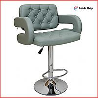 Барный стул высокий для барной стойки Кожаное барное кресло со спинкой с подлокотниками Bonro B-823A серый