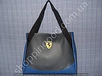 Женская сумка Ferrari 013601 серая с синим дном спортивная городская гладкий кожзам