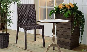 Садовий стілець Selen пластик під ротанг еспресо для дачі літнього кафе на терасу в будинку