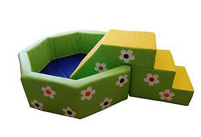 Сухой бассейн с горкой Цветочек 150х40 см