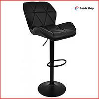 Барный стул высокий для барной стойки Кожаное барное кресло стильное со спинкой Bonro B-868M черный