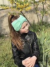 Демисезонная вязаная детская повязка на голову чалма, чурбан ручной работы.