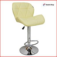 Барный стул высокий для барной стойки Кожаное барное кресло стильное со спинкой Bonro B-868M бежевый