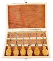 Резцы по дереву D.K.Art&Craft набор 6шт деревянный пенал (6926586610935)