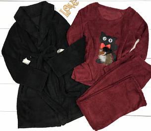 Теплые комплекты халат и пижама.