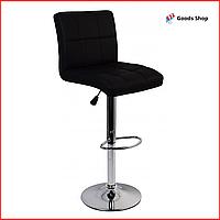 Барный стул высокий для барной стойки Кожаное барное кресло стильное со спинкой Bonro BC-0106 черный