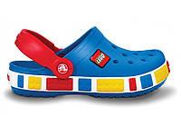 Кроксы лего детские синие яркие летние шлепанцы детские Crocs LEGO Blue