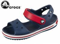 Сандалии детские синие летние удобные детские кроксы Crocs Crocband Sandal Navy/Red