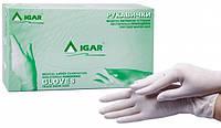 Латексные, припудренные, нестерильные, смотровые, защитные, белые перчатки, размер М, 100 шт, IGAR