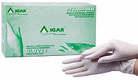 Латексные, припудренные, нестерильные, смотровые, защитные, белые перчатки, размер S, 100 шт, IGAR