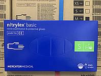 Перчатки нитриловые неопудренные Nitrylex Basic blue 100 штук упаковка размер S