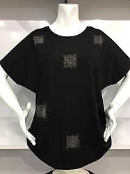 Женская футболка полномерного размера в черном цвете с рукавами летучая мышь