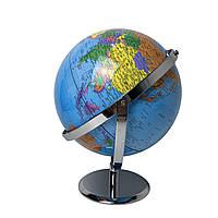 Глобус 20 см диаметр 2D обертається в двух площинах Колір: Синій.