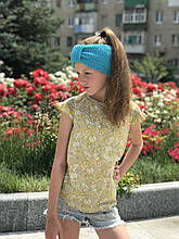Детская вязаная повязка чалма на голову ручная работа.