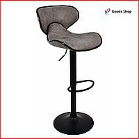 Барный стул высокий для барной стойки Кожаное барное кресло стильное со спинкой Bonro HB-678 серый