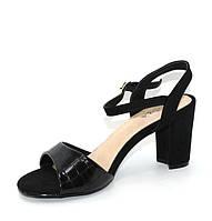 Классические черные женские босоножки на каблуке кирпичик